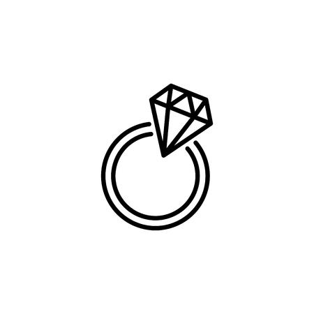 Diamond ring Web line icon.