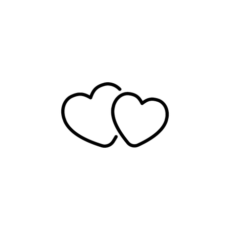 Two hearts Web line icon. Иллюстрация