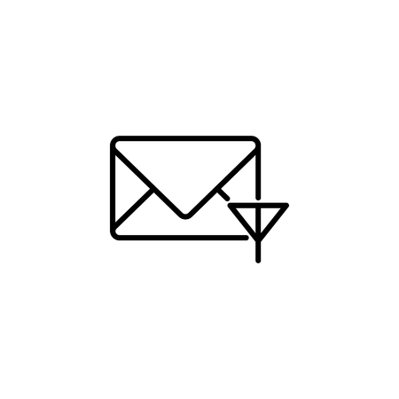 Web line icon. Network communication (envelope and antenna), message.