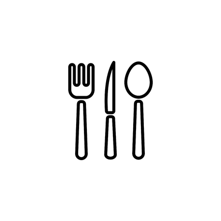 Web line icon. Cutlery (spoon, fork, knife).