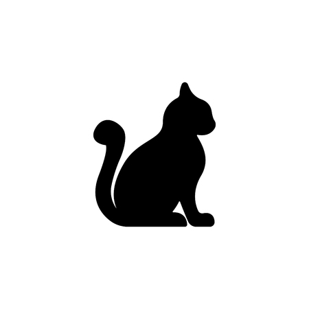 Web line icon. Silhouette of cat on white background.