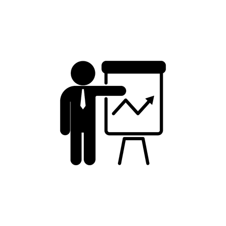 Web line icon, business; report (man at the flip chart).