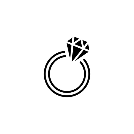 Web line icon, diamond ring. Illustration
