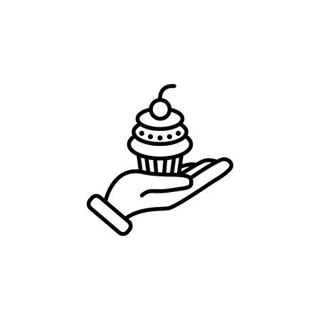 Web line icon, cake (dessert) in hand.