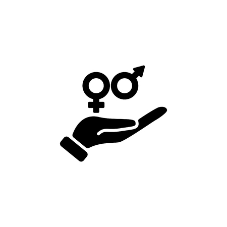Web icon, gender symbol (symbols of men and women) in hand. Illustration