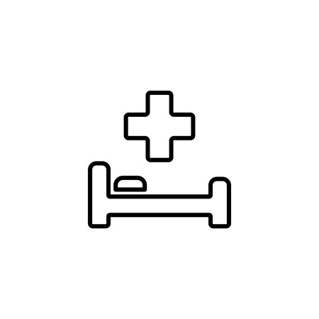 Web line icon, hospital bed and cross. Ilustração