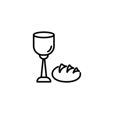Web line icon, Lord's supper, communion, bread and wine.