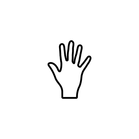 Web line icon, hand, bunch of fives.