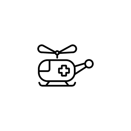 Web line icon, helicopter ambulance. Vectores