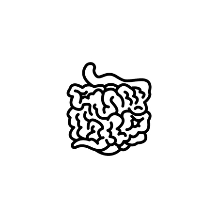Web line icon, small intestine. Illustration