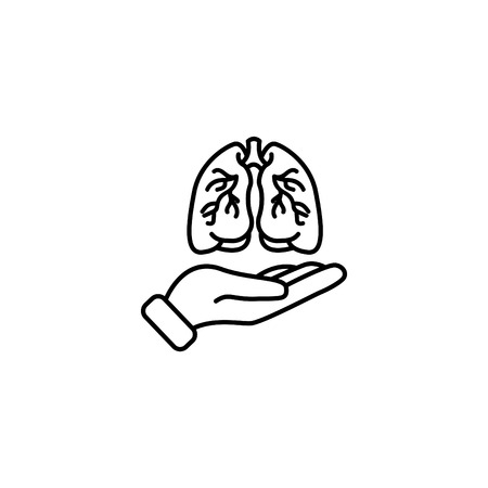 Web line icon, lungs in hand.