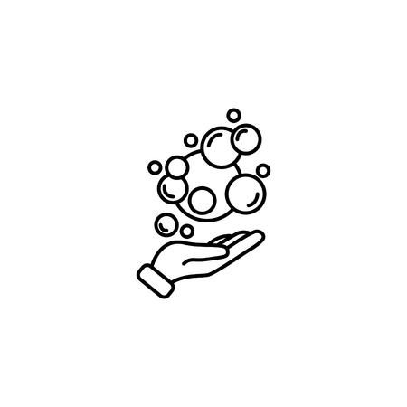Web line icon, bubbles in the hand, bubble blower. 일러스트