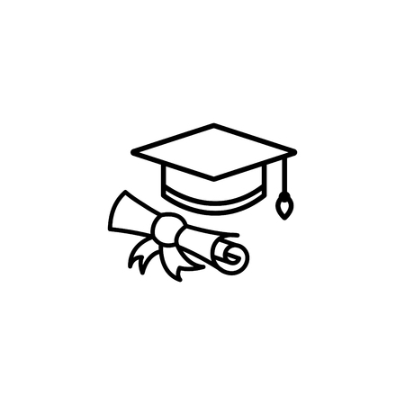 Web line icon, student cap with diploma, education icon. 矢量图像