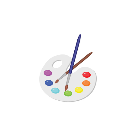 Color vector image, palette of colors, paints and a brush for drawing. Illustration