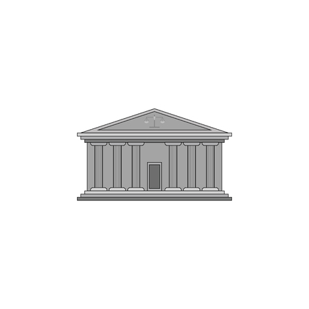 Color vector image, court building with columns.