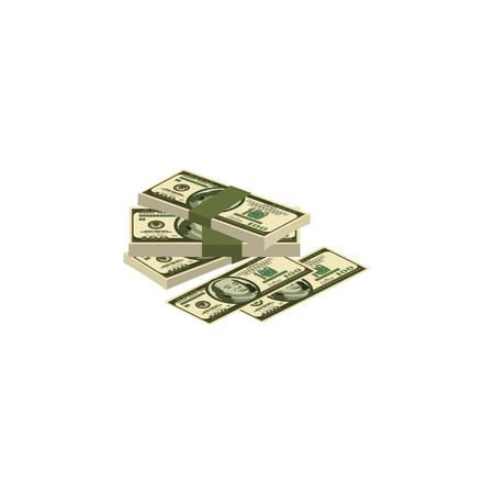 Color vector image. A pile of money, cash, dollars.