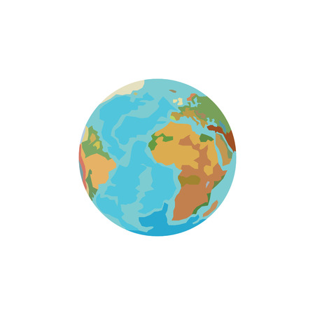 Color vector image, planet Earth, globe.