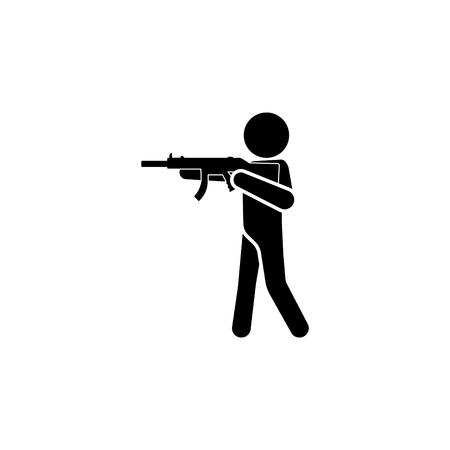 Player holding a gun icon vector illustration.