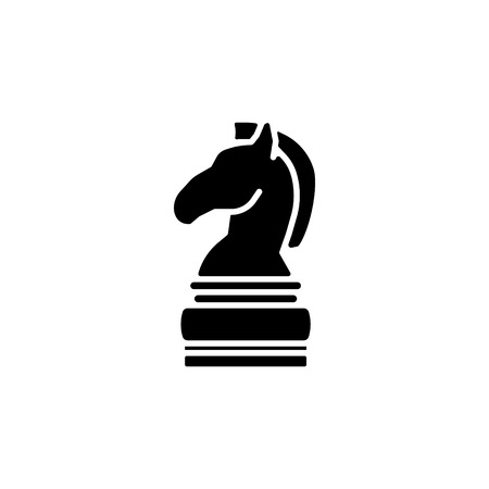 Chess figure of a horse, chess icon.