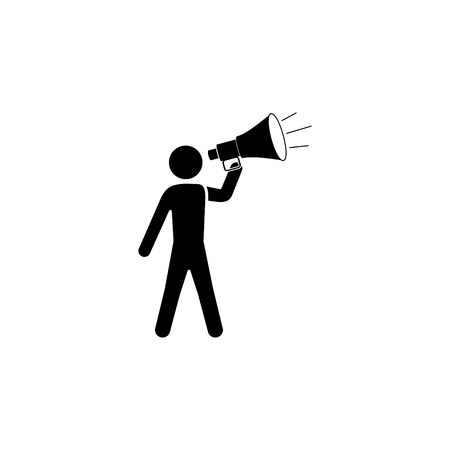 A man with a megaphone icon. Illustration