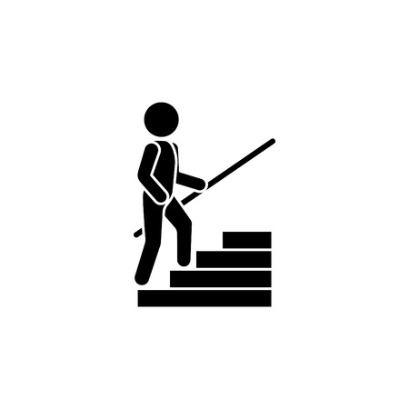A man climbs the steps with a handrail.