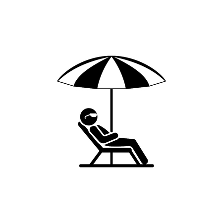 A man in a deckchair and umbrella, relax icon.