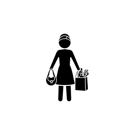 Woman with shopping icon. Çizim