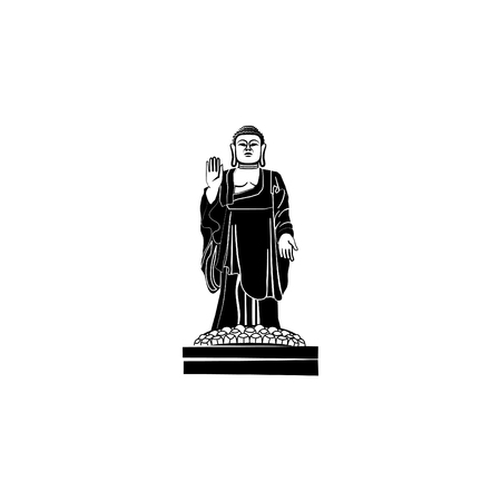 World Attractions. Buddha statue. Illustration