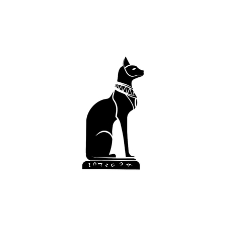 Goddess Bast icon. Egyptian cat icon.