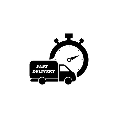 Fast delivery icon (silhouette). shipping truck  Иллюстрация