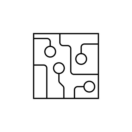 Circuit board, technology line icon.