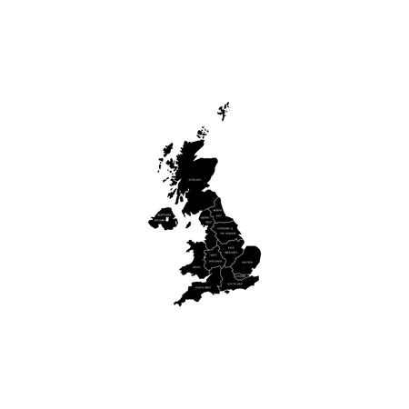 United Kingdom UK Regions Map.