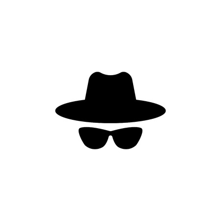 Agent icon. Spy sunglasses. Hat and glasses.