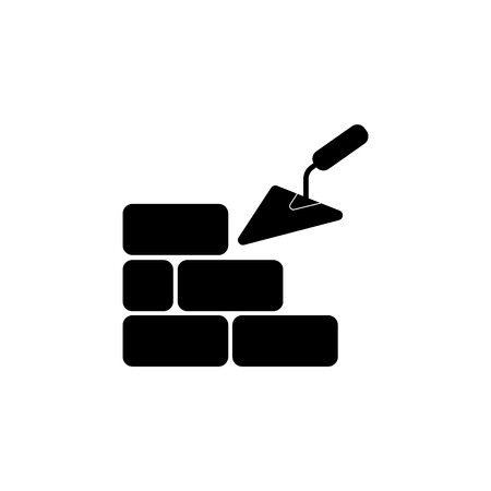Vector icons brickwork and building trowel.