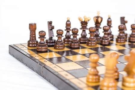 Chess. Chess board. Wooden chess pieces Stock Photo