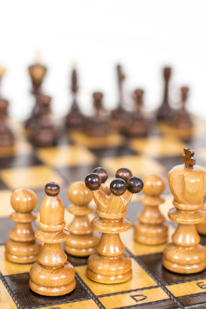 Chess. Chess board. Wooden chess pieces 스톡 콘텐츠