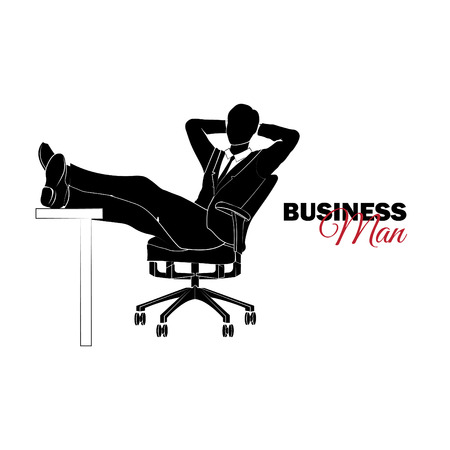 Businessman, Manager. A man in a business suit. Businessman sitting in a chair and folded his legs on a table Illusztráció