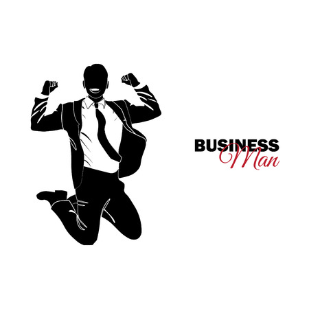 Businessman, Manager. A man in a business suit. Businessman jumping for joy