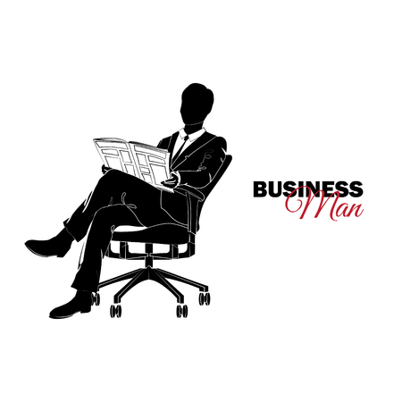 Businessman, Manager. A man in a business suit. Businessman sitting in a chair reading a newspaper