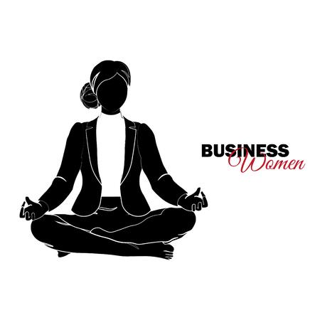 Businesswoman. Woman in business suit. Businesswoman meditates, Businesswoman in a lotus pose Illusztráció