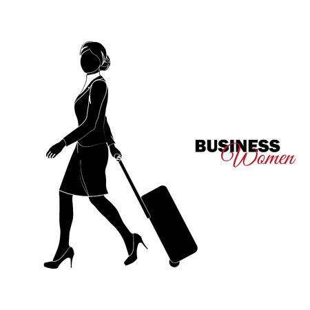 Mujer de negocios. Mujer en traje de negocios. La empresaria viene con una maleta