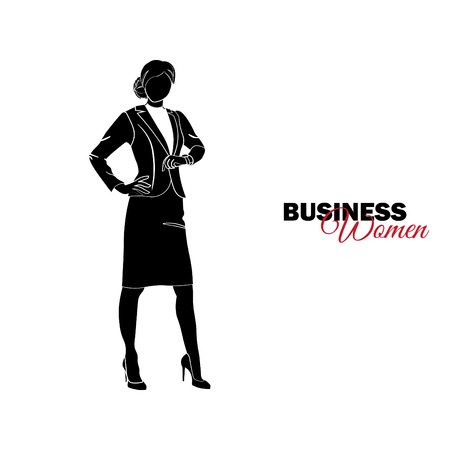 Businesswoman. Woman in business suit. Businesswoman looks at clock Illustration
