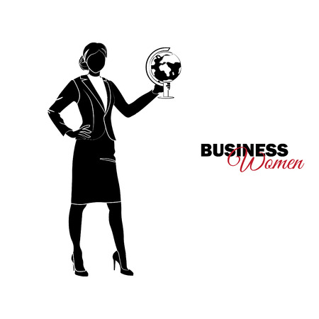 Businesswoman. Woman in business suit. Businesswoman with a globe