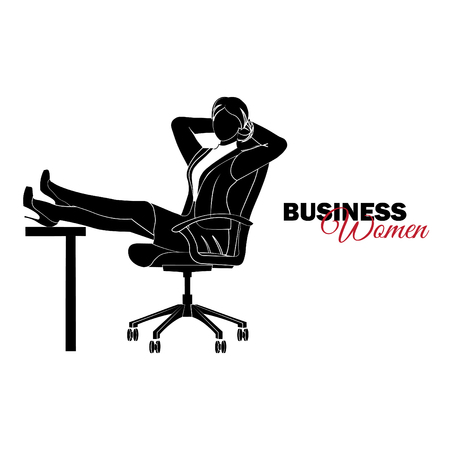 Businesswoman. Woman in business suit. Businesswoman sits in a chair and folded her legs on the table