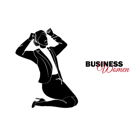 Businesswoman. Woman in business suit. Businesswoman on his knees screams from grief Vector Illustration