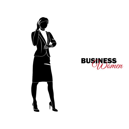 Businesswoman. Woman in business suit. Businesswoman looking at the clock and talking on the phone Çizim