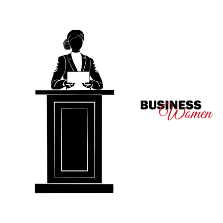 Businesswoman. Woman in business suit. Businesswoman reads a report on the podium