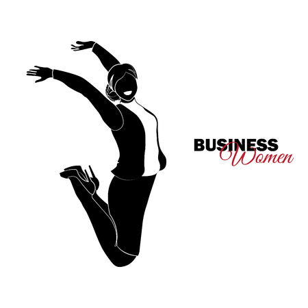Businesswoman. Woman in business suit. Businesswoman jumping for joy