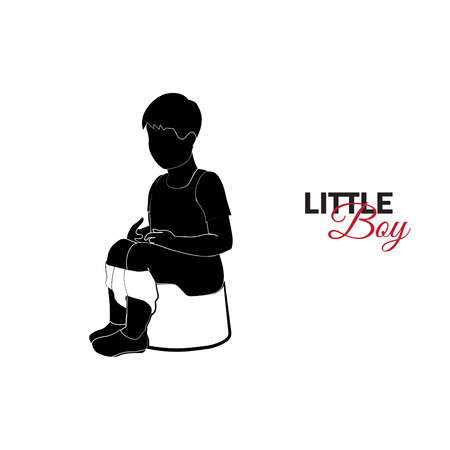 Little child, baby. A little boy is sitting on a pot Illustration