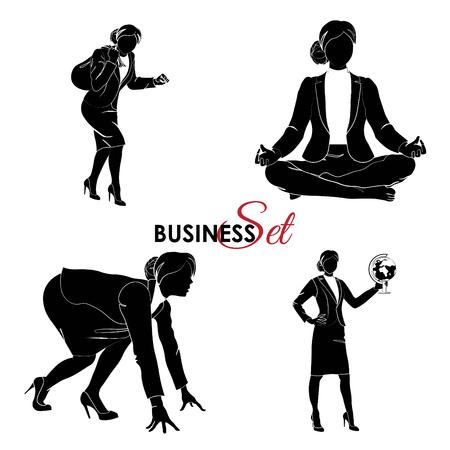 Business set. Businesswoman set. Illustration